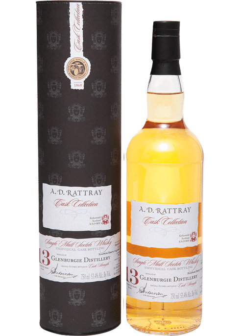 Bottle of A D Rattray Glenburgie 2001 13 Yr whiskey