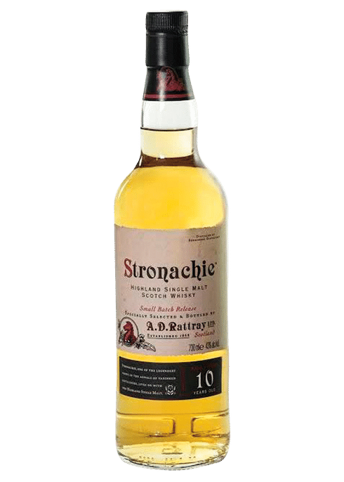 Bottle of A D Rattray Stronachie 10 Yr whiskey