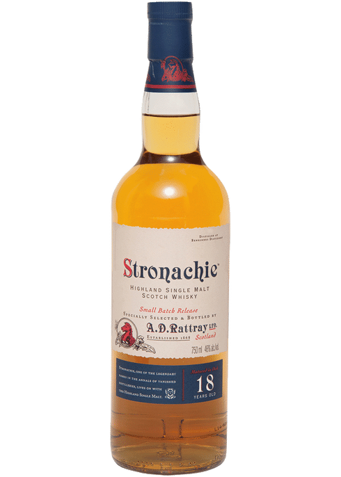Bottle of A D Rattray Stronachie 18 Yr whiskey