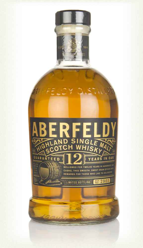 Bottle of Aberfeldy 12 yo whiskey