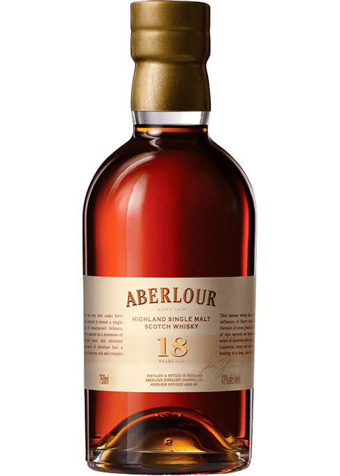 Bottle of Aberlour 18 Yr whiskey