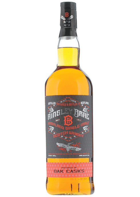Bottle of Ainsley Brae Single Malt Oak Cask whiskey