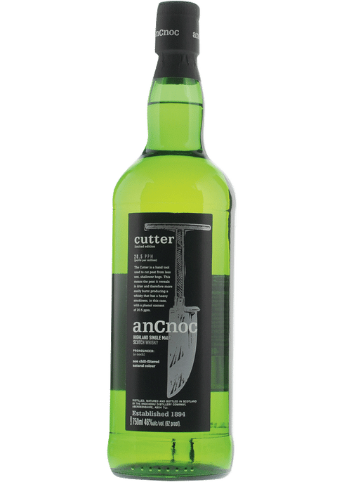 Bottle of AnCnoc Cutter Single Malt whiskey
