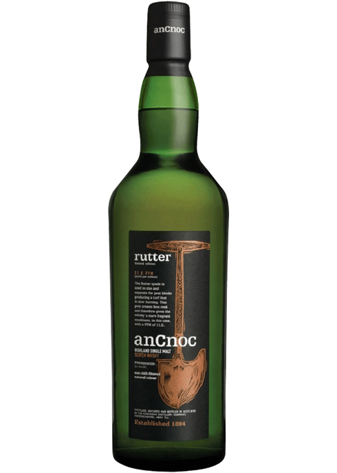Bottle of AnCnoc Rutter Single Malt whiskey