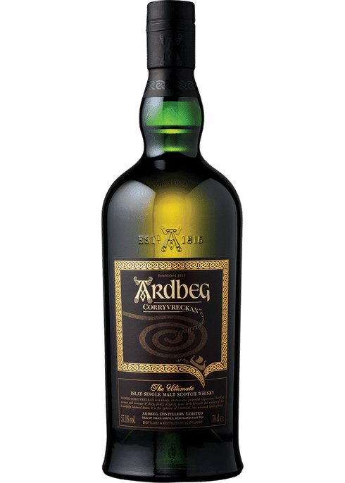 Bottle of Ardbeg Corryvreckan Single Malt whiskey