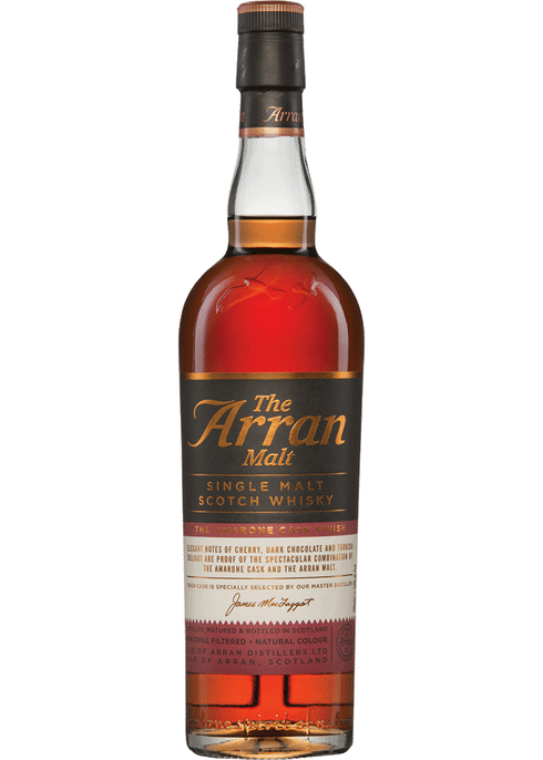 Bottle of Arran Amarone Cask Finish whiskey