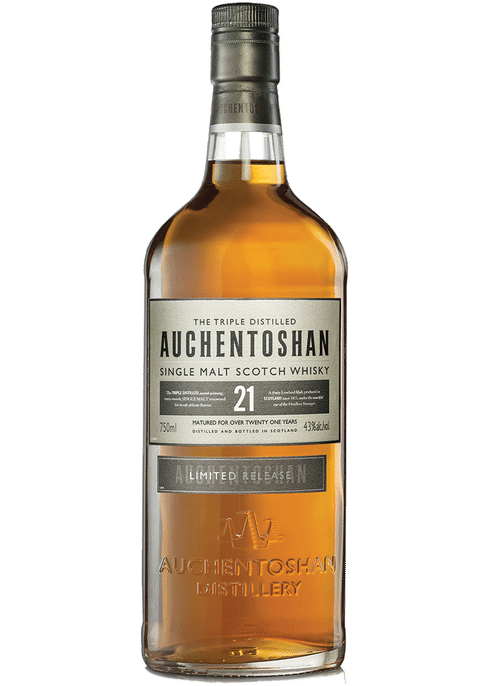 Bottle of Auchentoshan 21yr whiskey