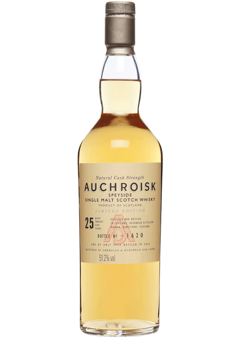 Bottle of Auchroisk Speyside 25 Yr whiskey