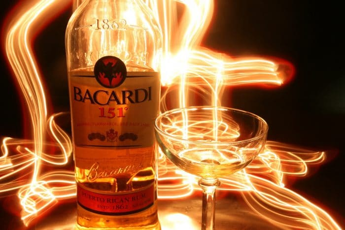 Bacardi 151 rum bottle and glass with special effects
