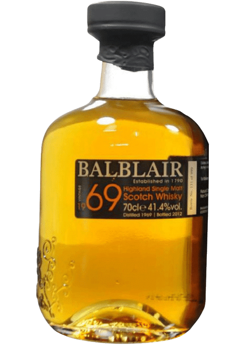 Bottle of Balblair 1969 whiskey