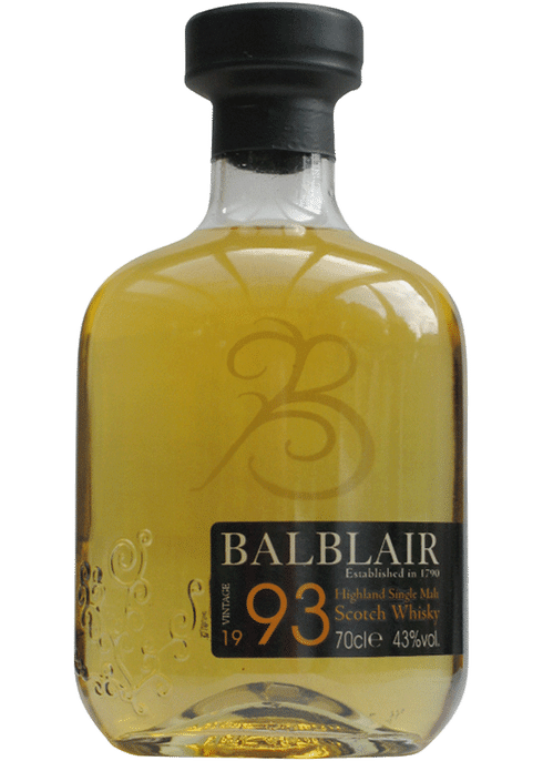 Bottle of Balblair 1993 whiskey