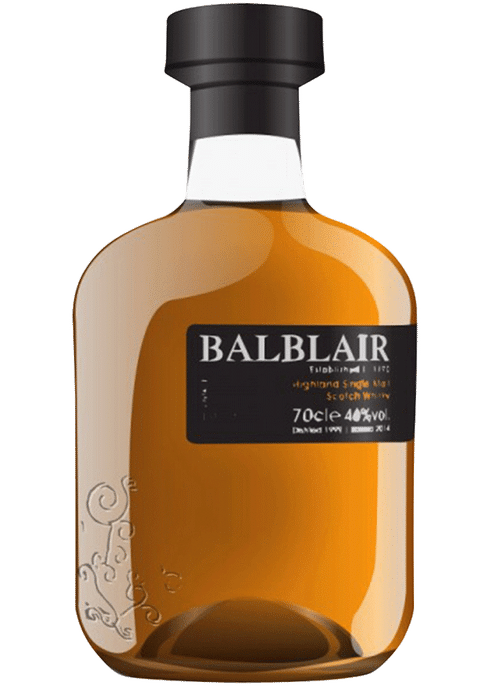 Bottle of Balblair 1999 whiskey