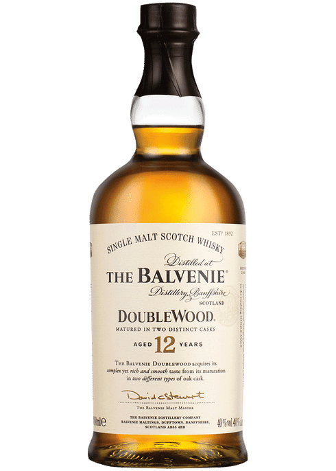 Bottle of Balvenie 12 year old Double Wood whiskey