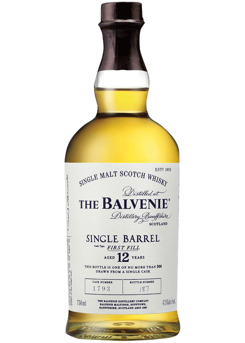 Bottle of Balvenie 12 year old Single Barrel Old First Fill Bourbon Cask whiskey