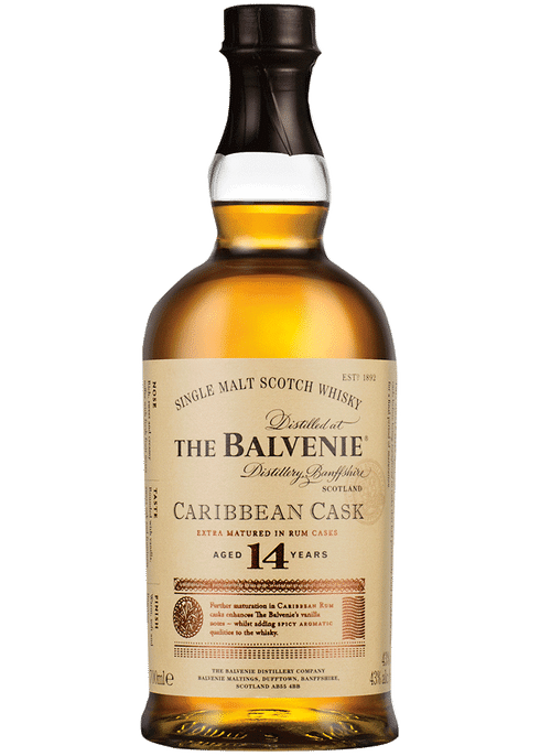 Bottle of Balvenie 14 year old Caribbean Cask whiskey