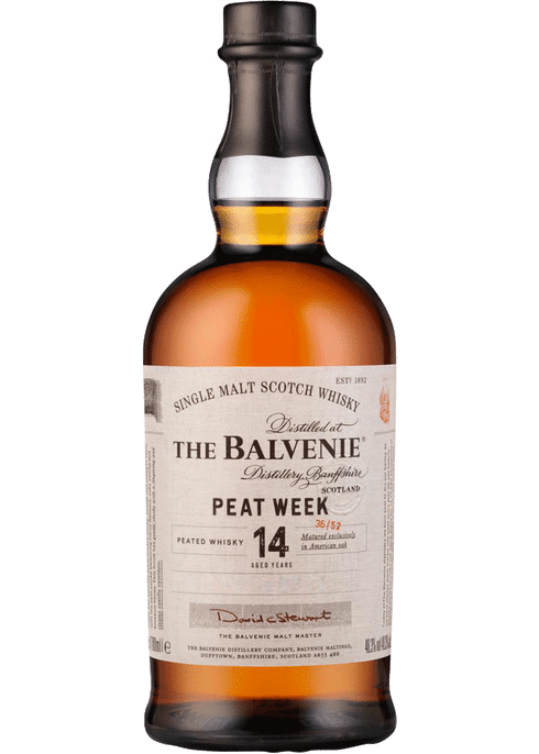 Bottle of Balvenie 14 year old Peat Week whiskey
