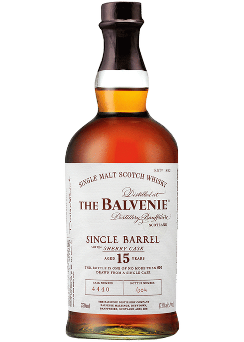 Bottle of Balvenie 15 year old Single Barrel Sherry Cask whiskey