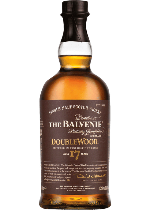 Bottle of Balvenie 17 year old Double Wood whiskey
