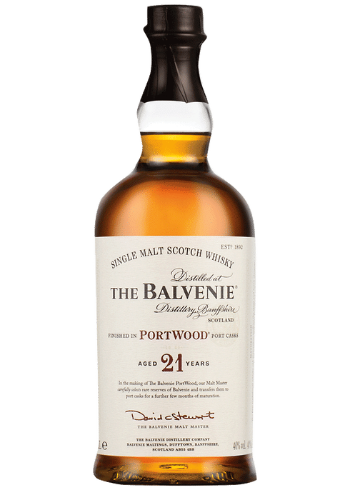 Bottle of Balvenie 21 year old Port Wood whiskey