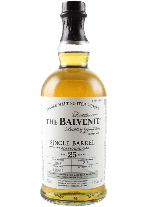 Bottle of Balvenie 25 Yr whiskey