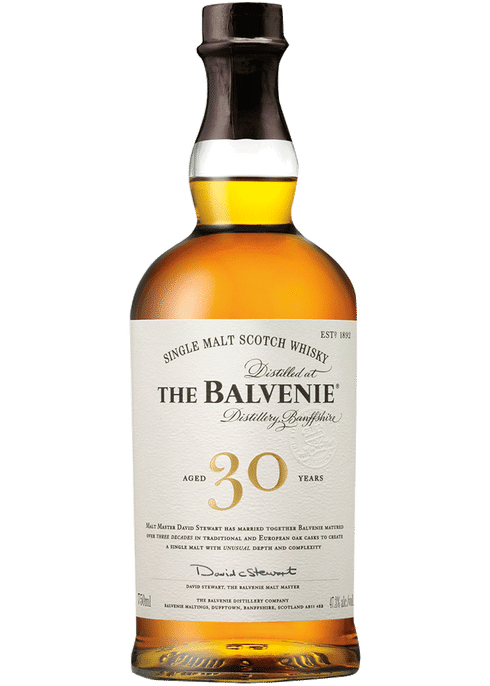 Bottle of Balvenie 30 Yr whiskey