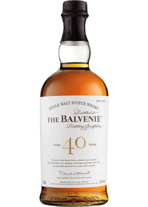 Bottle of Balvenie 40 Yr whiskey