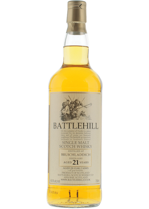 Bottle of Battlehill Bruichladdich 21 Yr whiskey