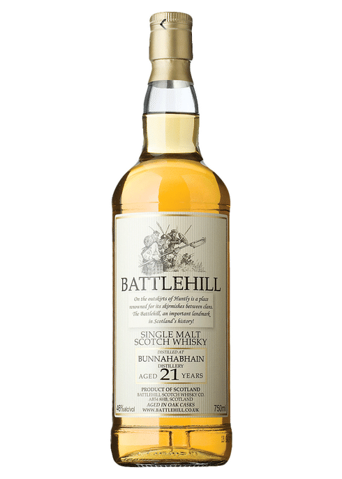 Bottle of Battlehill Bunnahabhain 21 Year whiskey