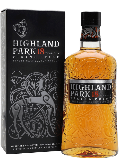 Bottle of Battlehill Highland Park 18yr whiskey