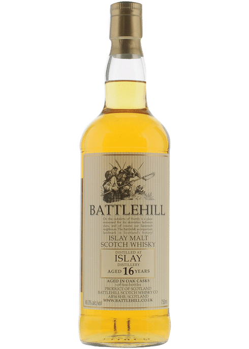 Bottle of Battlehill Islay Malt 16 Yr whiskey