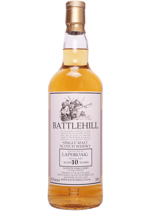Bottle of Battlehill Laphroaig 10 Yr whiskey