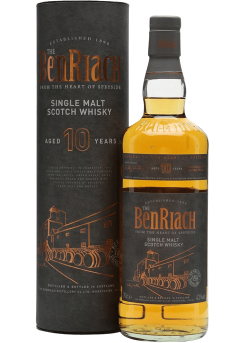 Bottle of BenRiach 10 Yr whiskey