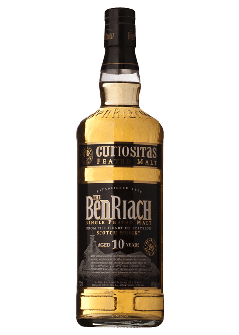 Bottle of BenRiach 10year old Curiositas whiskey