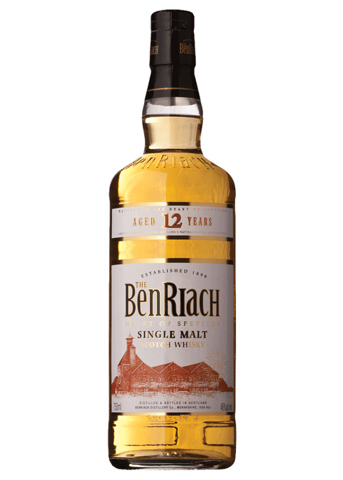 Bottle of BenRiach 12yr whiskey