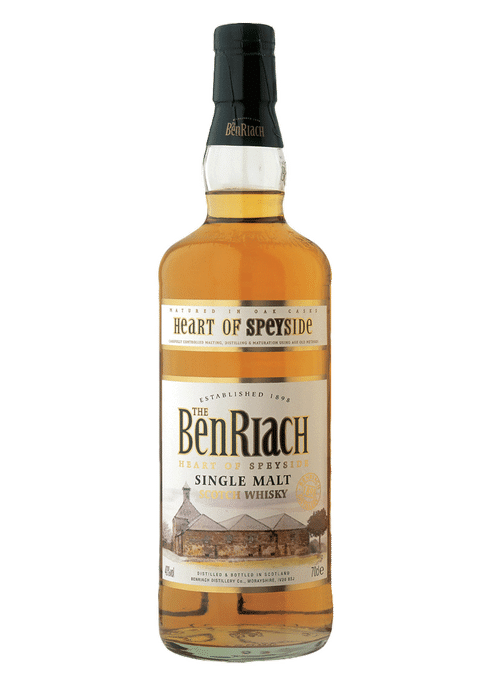 Bottle of BenRiach Heart of Speyside Single Malt whiskey