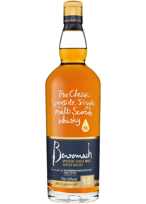 Bottle of Benromach 15 Yr whiskey