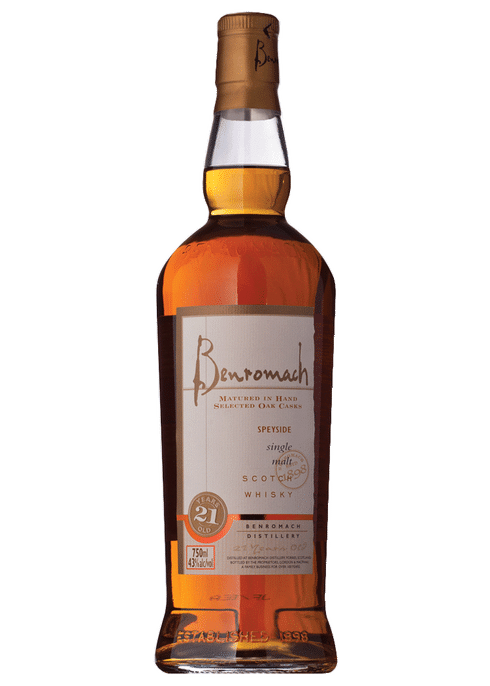 Bottle of Benromach 21 Yr whiskey