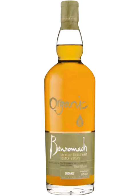 Bottle of Benromach Organic Scotch whiskey