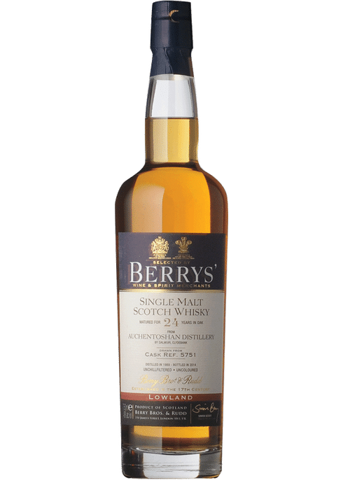 Bottle of Berrys' Auchentoshan 24 Yr whiskey