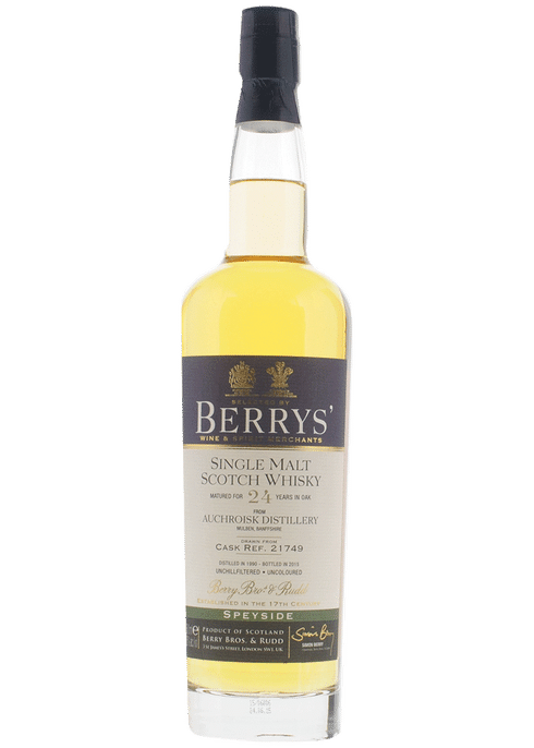Bottle of Berrys' Auchroisk 24yr whiskey