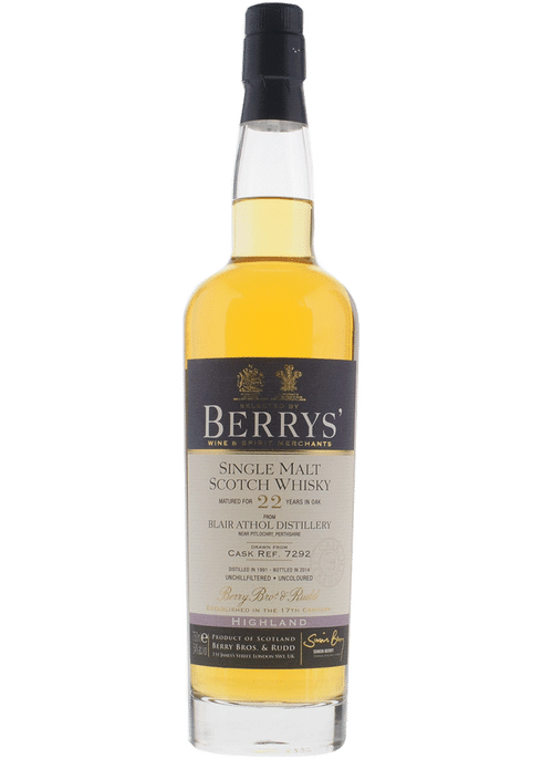 Bottle of Berrys' Blair Athol 22 Yr whiskey