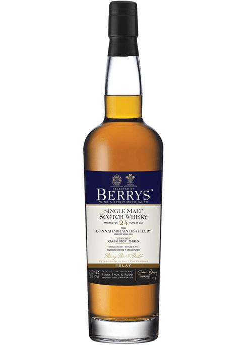 Bottle of Berrys' Bunnahabhain 24year old Single Malt Scotch Whisky whiskey