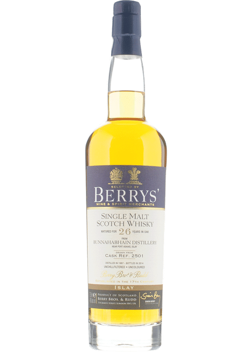 Bottle of Berrys' Bunnahabhain 26 Yr whiskey
