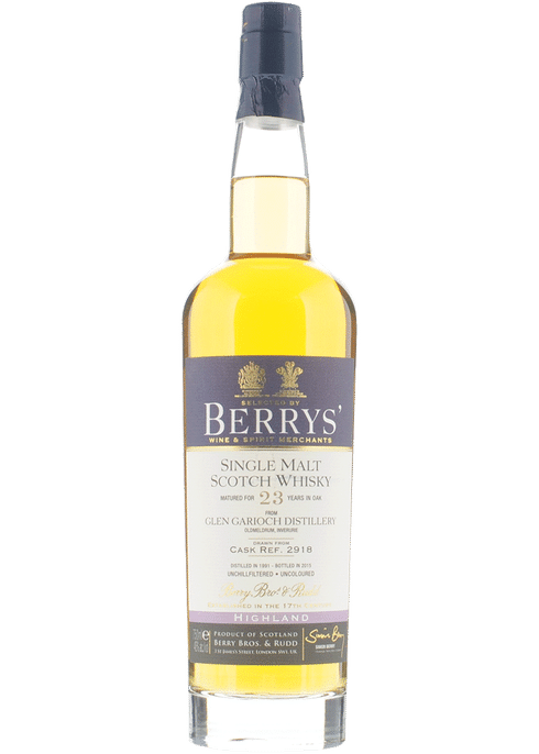 Bottle of Berrys' Glen Garioch 23yr whiskey