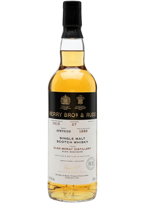 Bottle of Berrys' Glen Moray 27yr whiskey