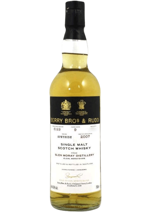 Bottle of Berrys' Glen Moray 9yr whiskey