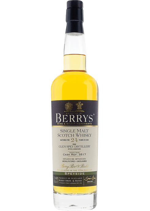 Bottle of Berrys' Glen Spey 24yr whiskey