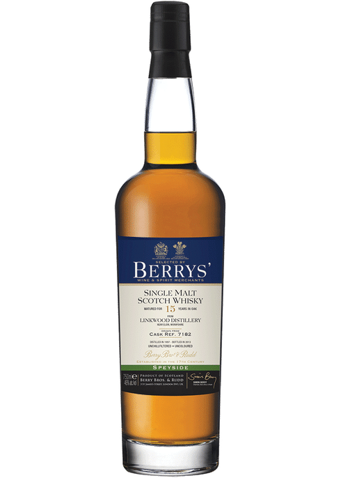 Bottle of Berrys' Linkwood 11yr whiskey