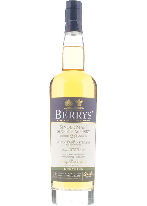 Bottle of Berrys' Miltonduff 20yr whiskey