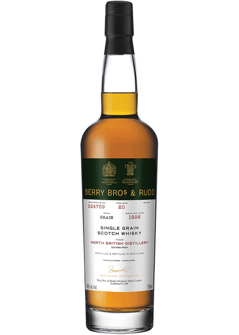 Bottle of Berrys' North British 20yr whiskey